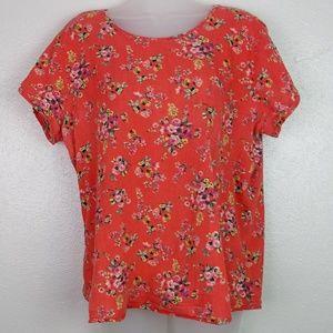 BOBEAU Short Sleeve Floral Keyhole Cutout Top